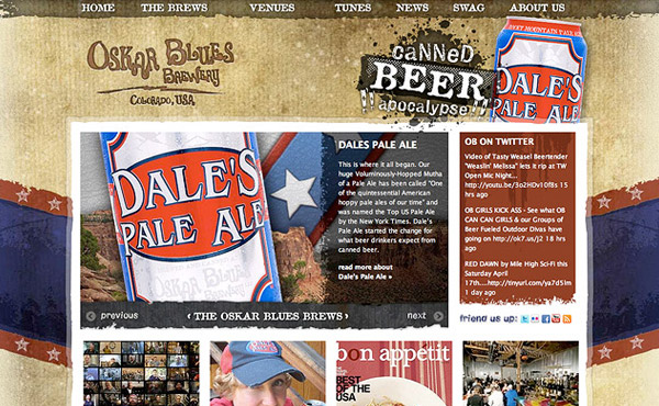 Oskar Blues Brewing Company Website